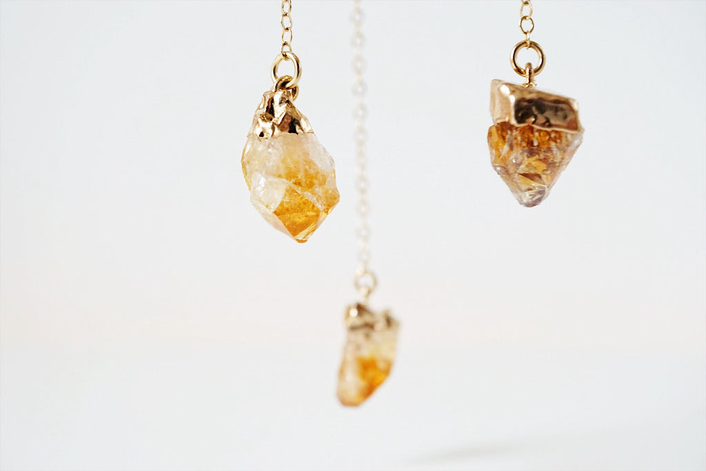 Dainty Citrine Nugget & Lava Bead Gold Necklace - MULTIPLE CHAIN OPTIONS - Lava Essential Oils