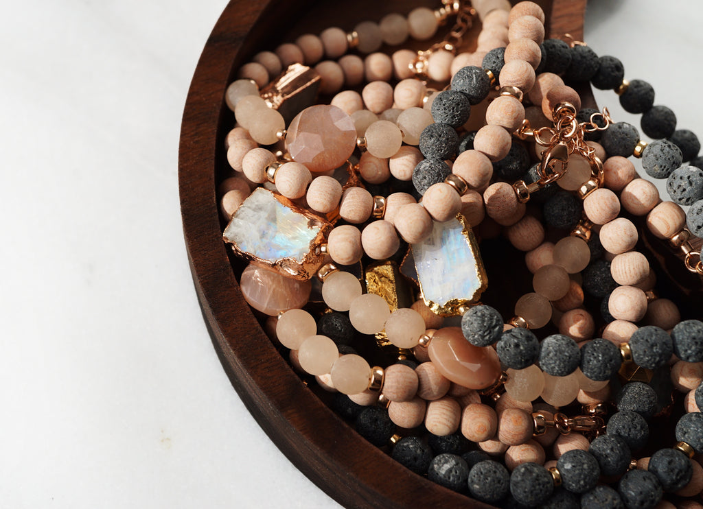 Pink Moonstone + Raw Rosewood Aromatherapy Bracelet - Lava Essential Oils