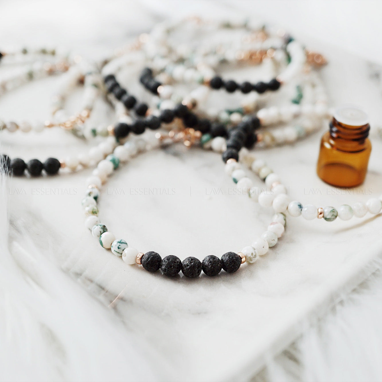 Moss Agate & Lava Bead Dainty Essential Oil Diffuser Bracelet [RG] - Lava Essential Oils