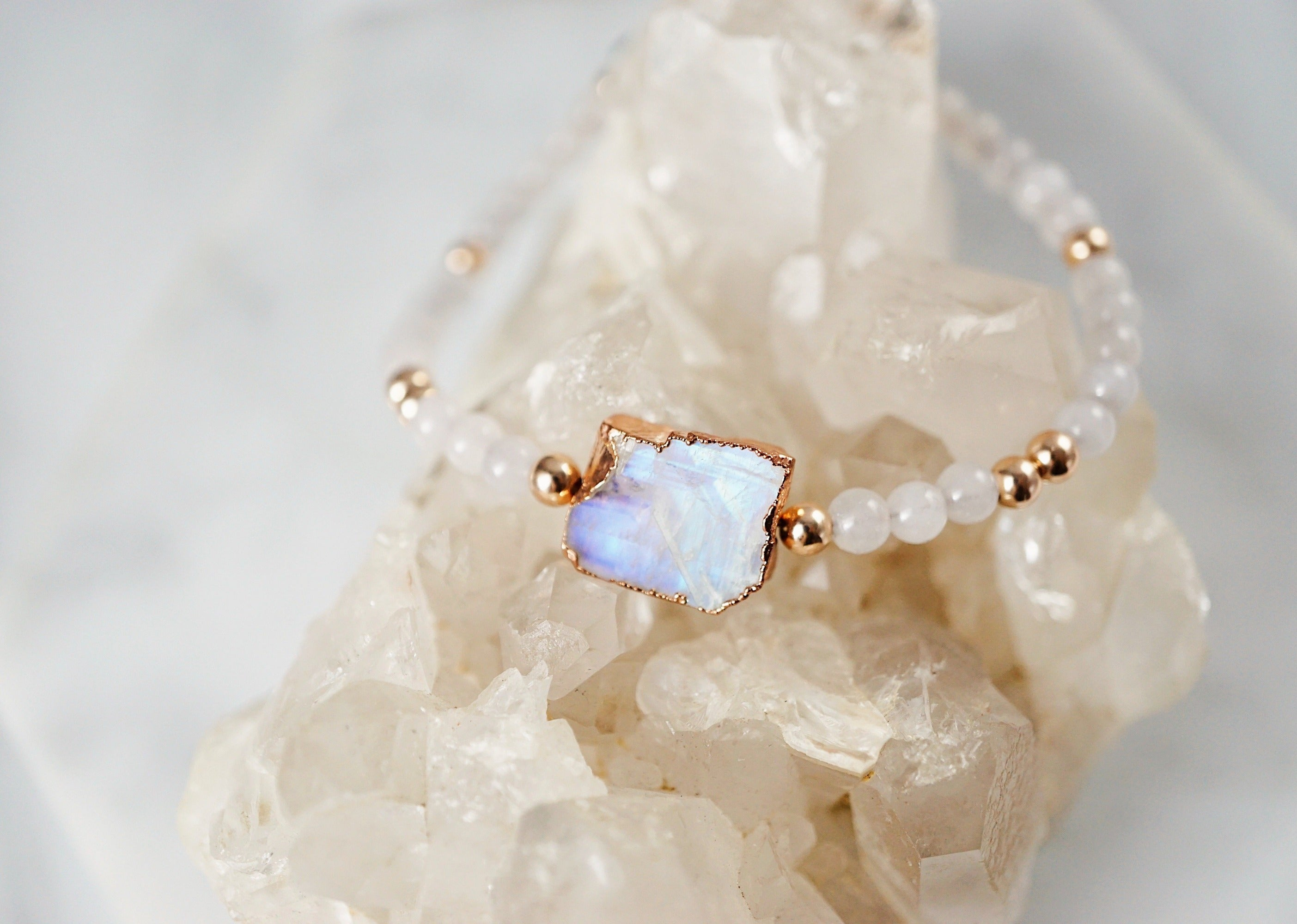 NEW Dainty Electroplated Rainbow Moonstone + Jade + Rose Gold Aromatherapy Bracelet