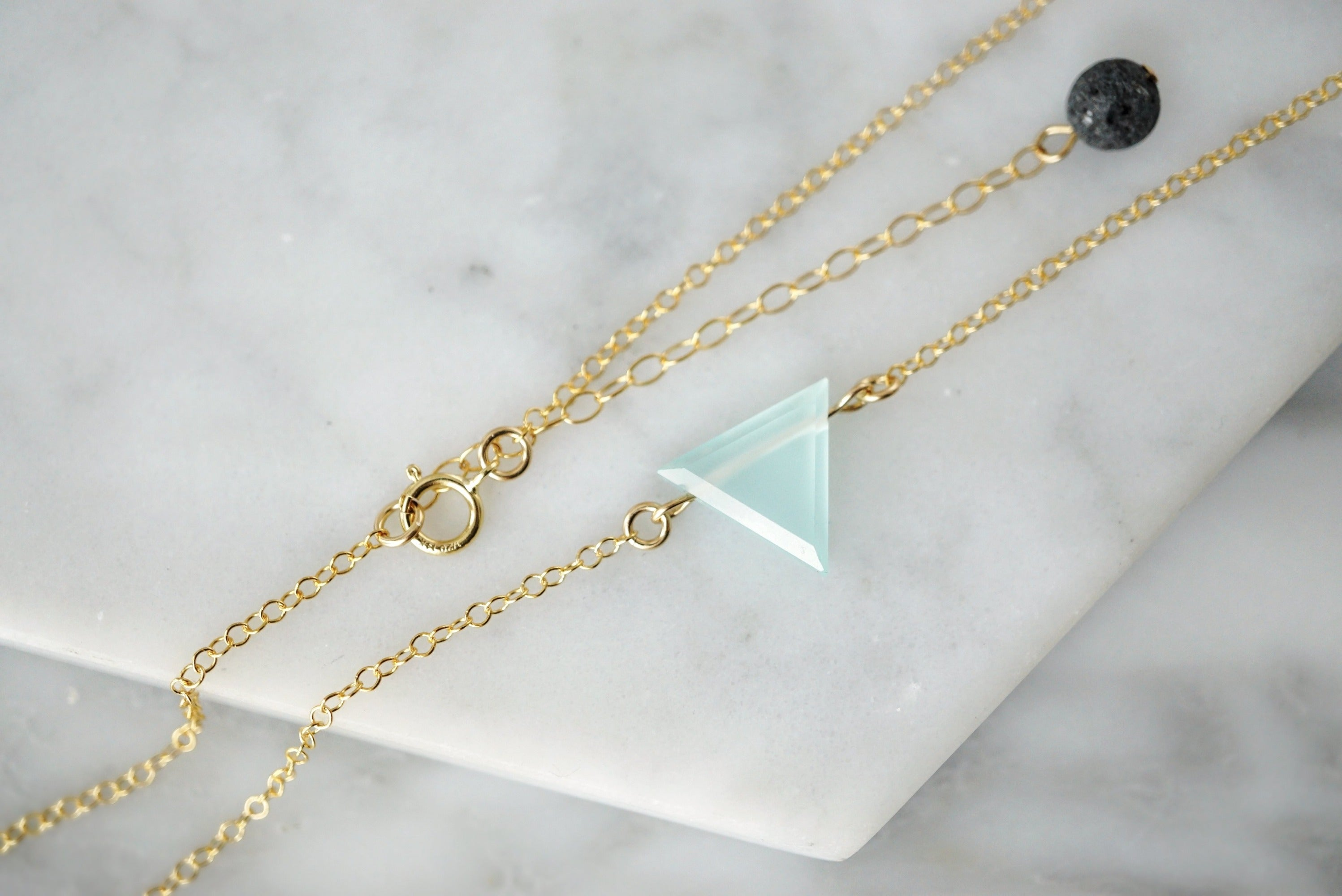 Petite Aqua Chalcedony Triangle Necklace, Natural Lava Extender
