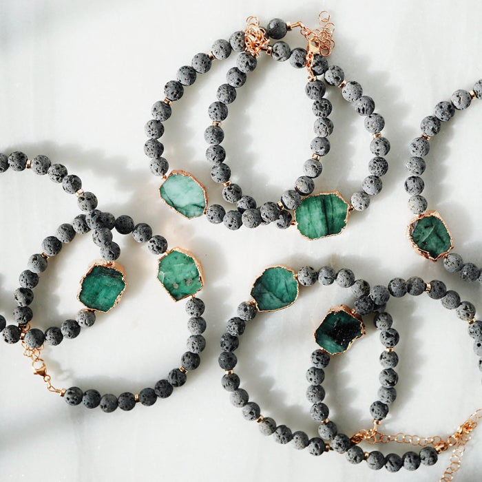 HOLIDAY COLLECTION • Emerald + Lava Rose Gold Aromatherapy Bracelet