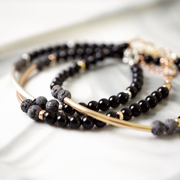 EMF Collection ☼ Half-Moon Black Tourmaline & Lava Bracelet [G]+[S]+[RG] - Lava Essential Oils