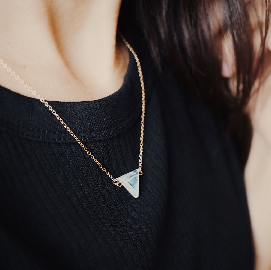 Petite Rainbow Moonstone Triangle Necklace, Natural Lava Extender [G]+[S] - Lava Essential Oils