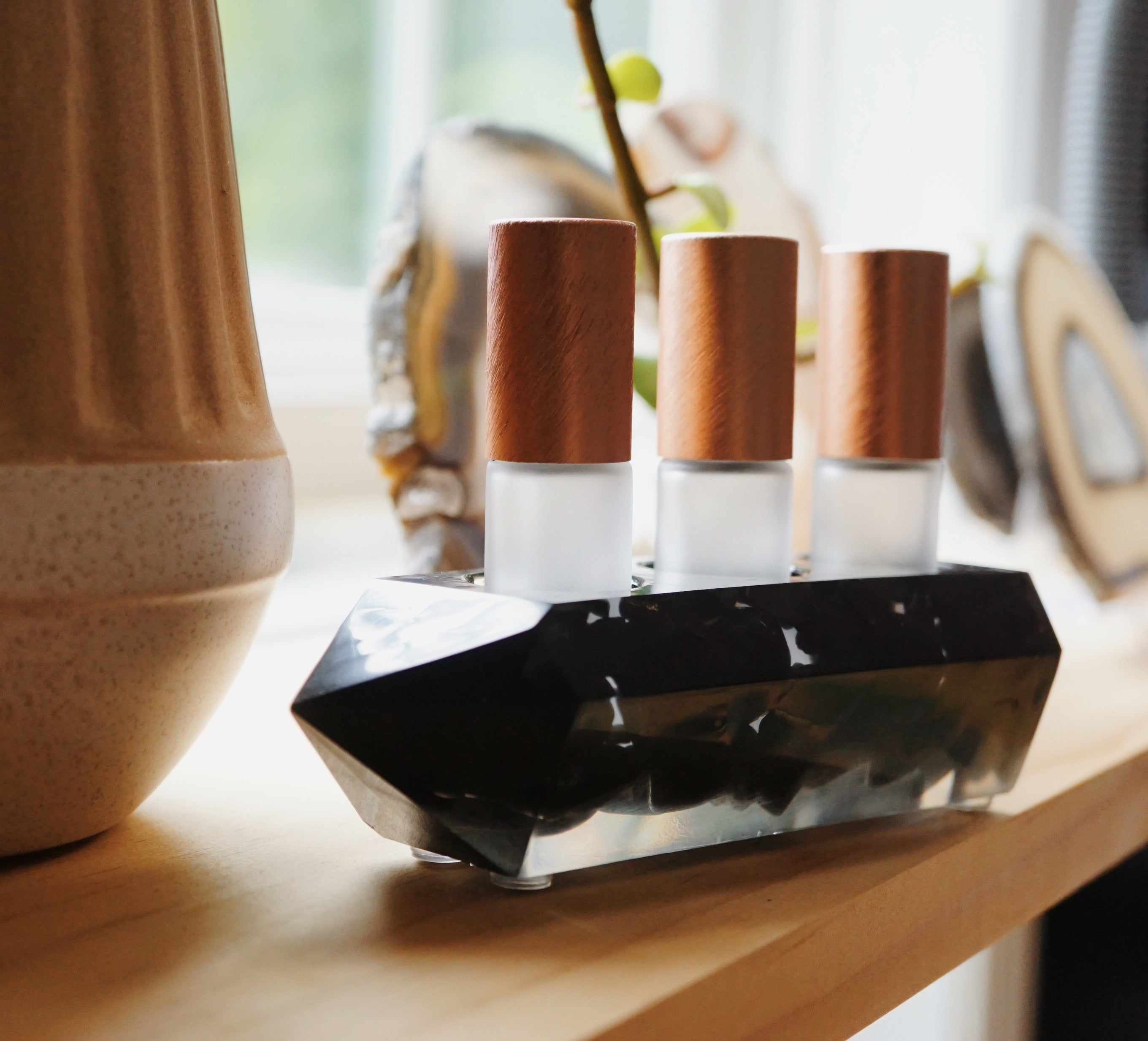 EMF Collection ☼ Black Tourmaline + Shungite Crystal Point Essential Oil Holders
