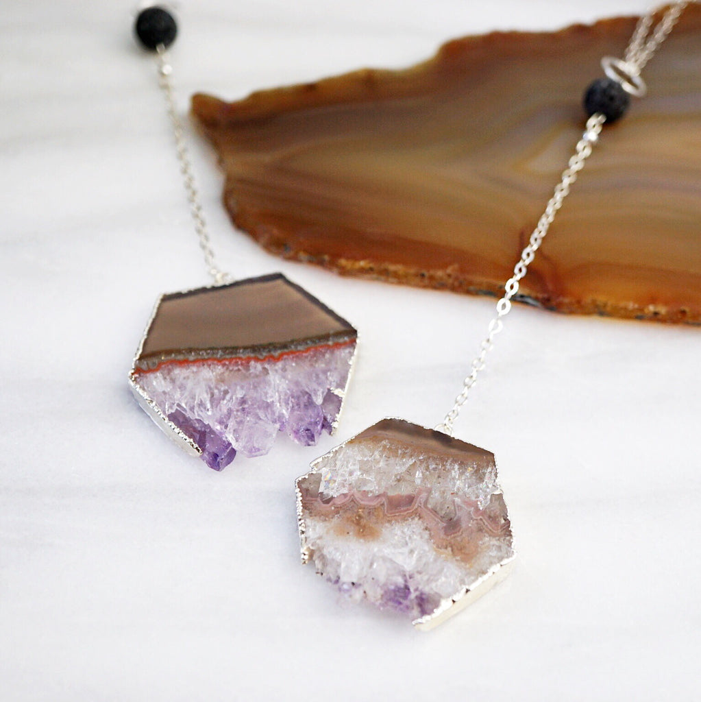 Silver Amethyst Hexagon Aromatherapy Necklace - One of a Kind - Lava Essential Oils