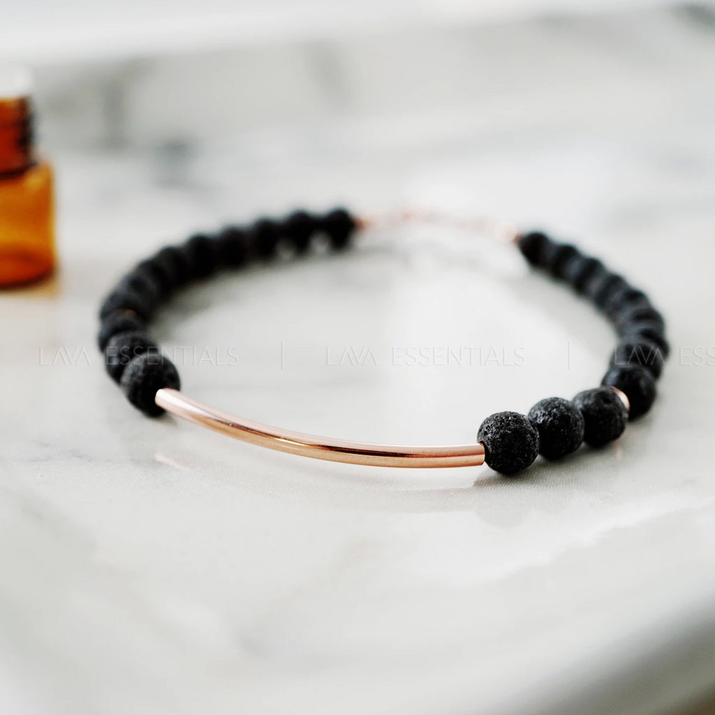 Half-moon Lava Bead Essential Oil Diffuser Bracelet * Rose & Silver Retiring Soon - Lava Essential Oils