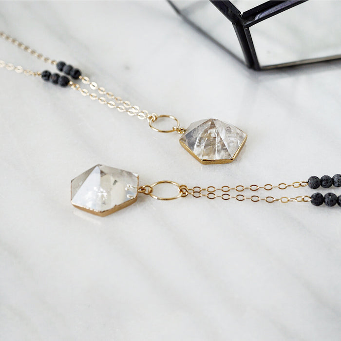 Quartz Crystal Gold Electroplated Aromatherapy Necklace