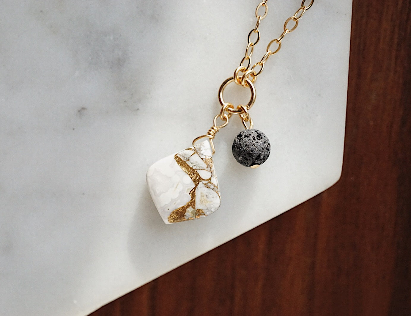 Petite Copper Calcite & Lava Aromatherapy Necklace
