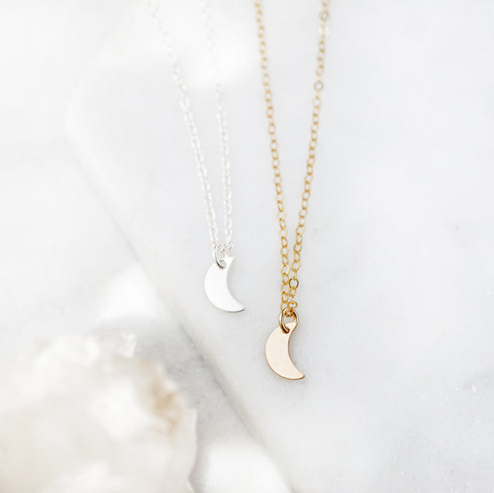 Dainty Crescent Moon Stacking Necklace - Lava Essential Oils