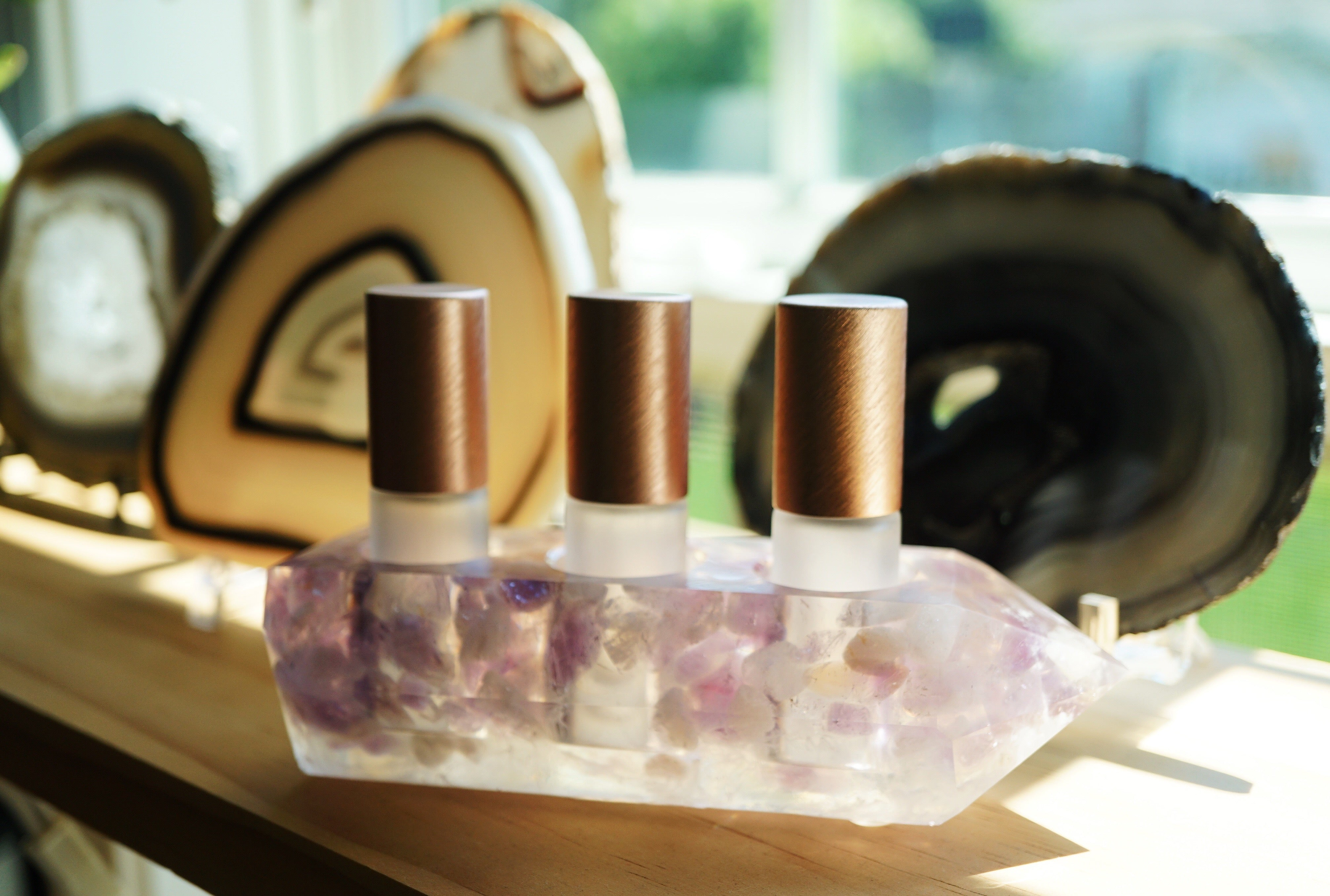 One-of-a-kind Amethyst Crystal Point Essential Oil Holders  (017)
