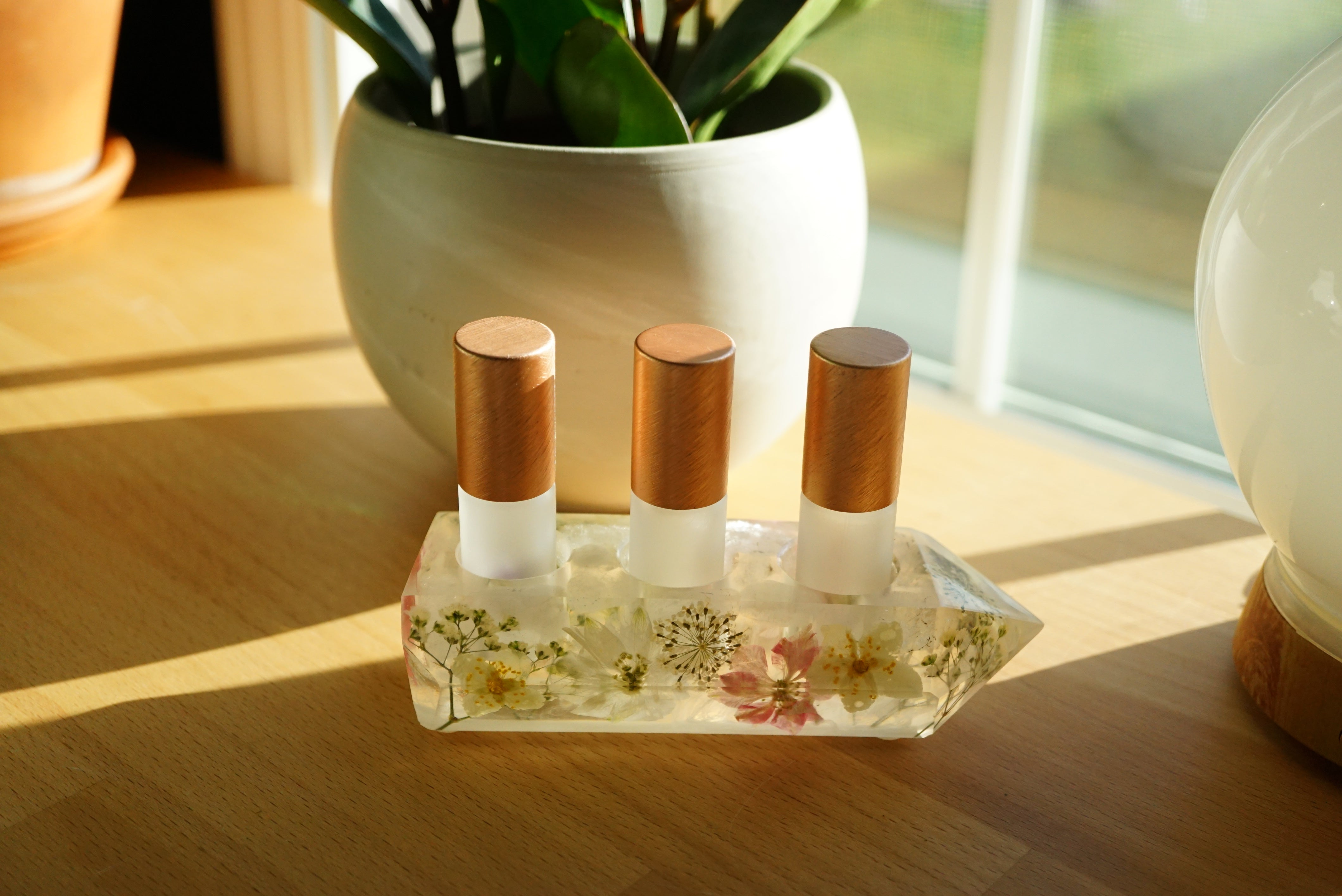 One-of-a-kind Floral + Quartz Crystal Point Essential Oil Holders  (028)