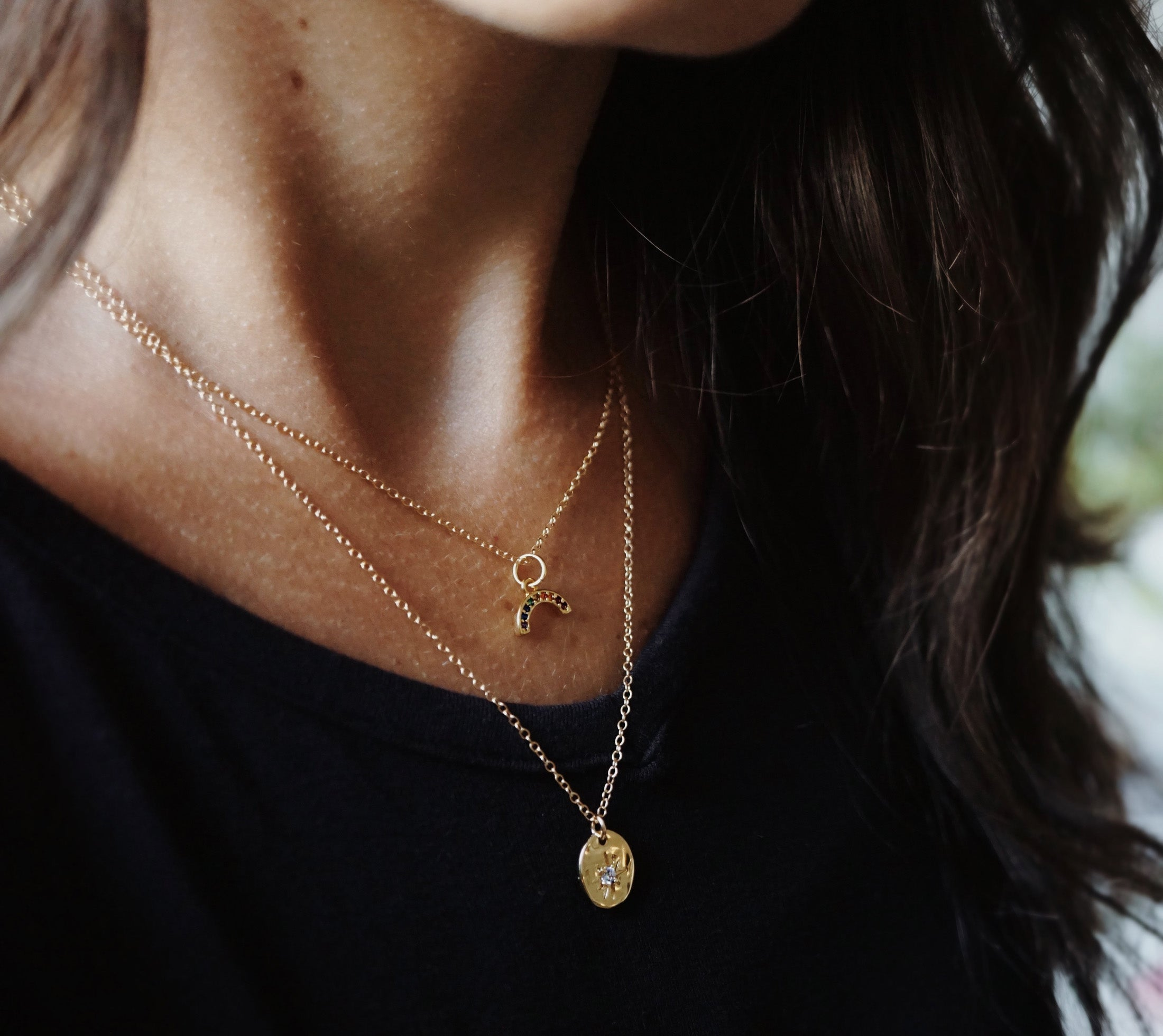 The PROMISE ✶ Celestial Collection ✶ Dainty Rainbow Necklace + Lava Charm
