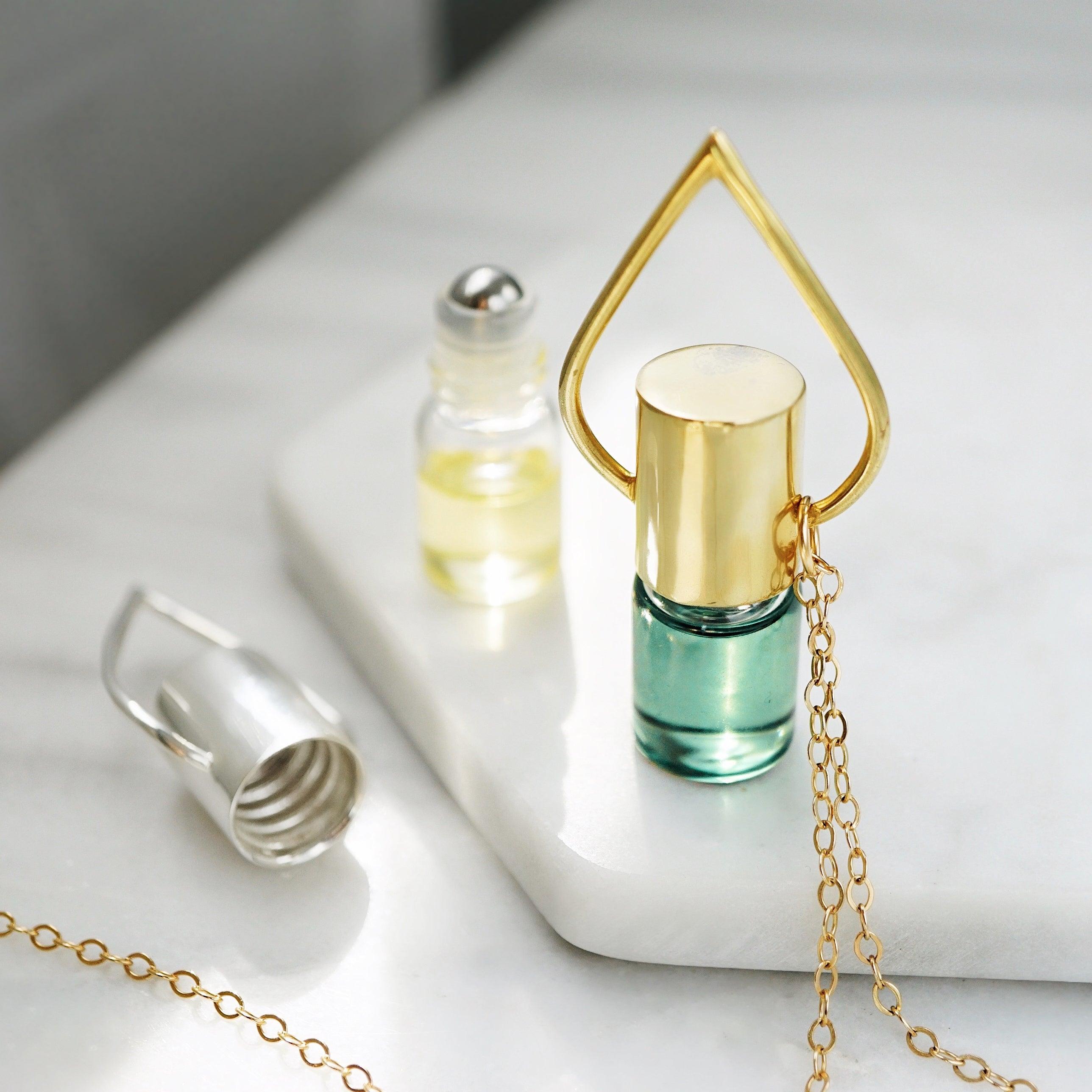 Silver or Gold Oil Drop Roller Bottle Essential Oil Necklace [G]+[S] - Lava Essential Oils