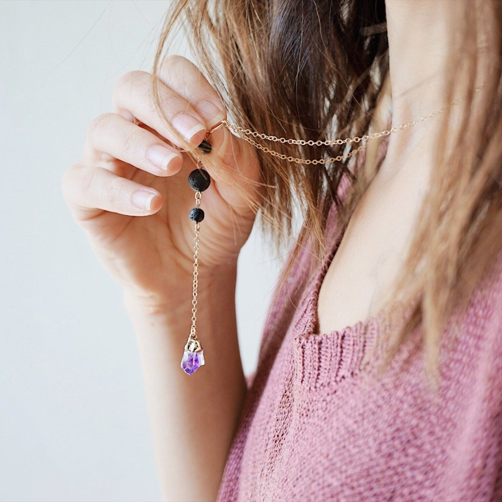 Dainty Amethyst Nugget & Lava Bead Necklace [G]+[S] - Lava Essential Oils