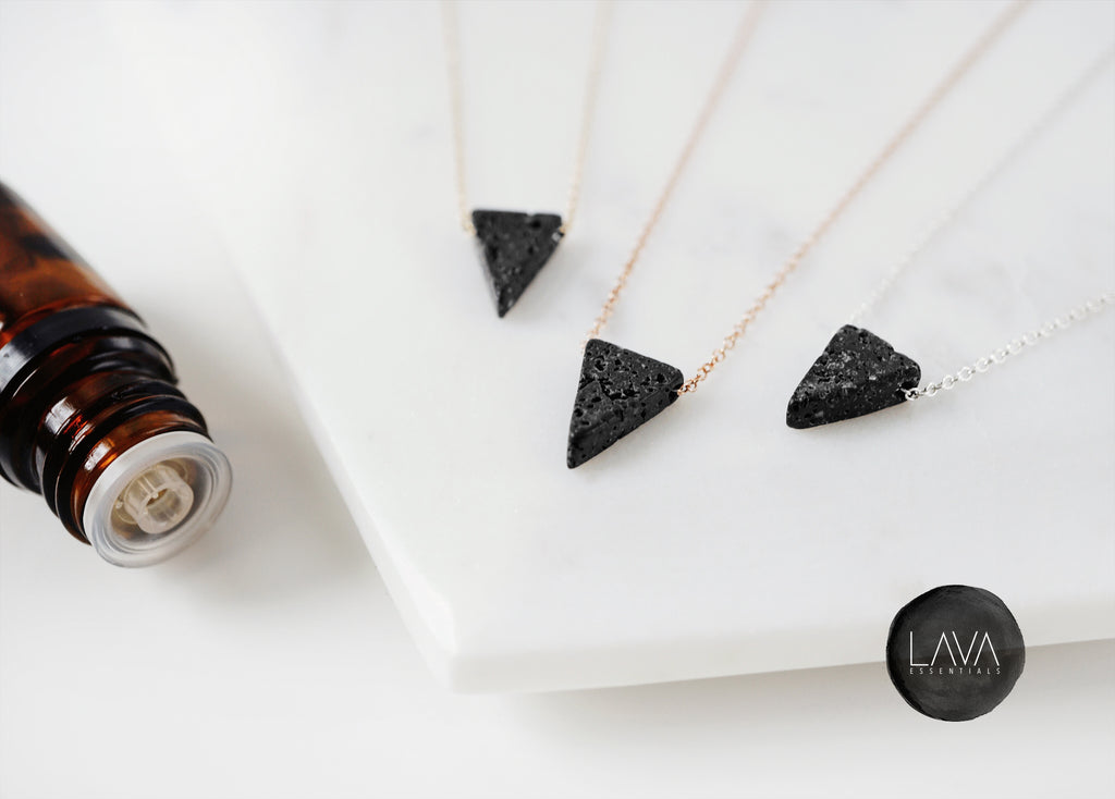 Slender Lava Triangle - Dainty Lava Triangle Essential Oil Necklace - Lava Essential Oils