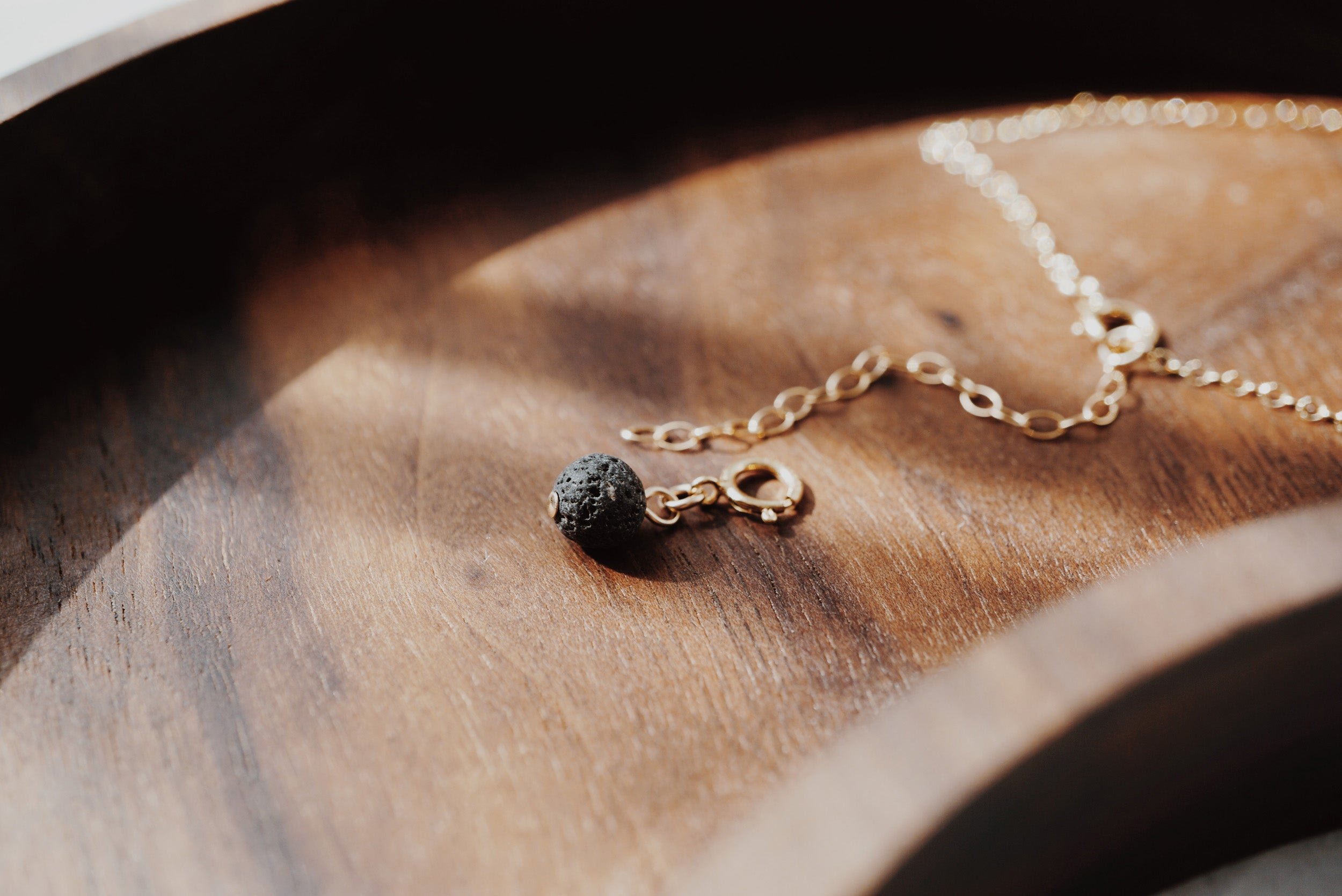 EMF Collection ☼ Dainty Electroplated Raw Black Tourmaline Necklace + Lava Charm