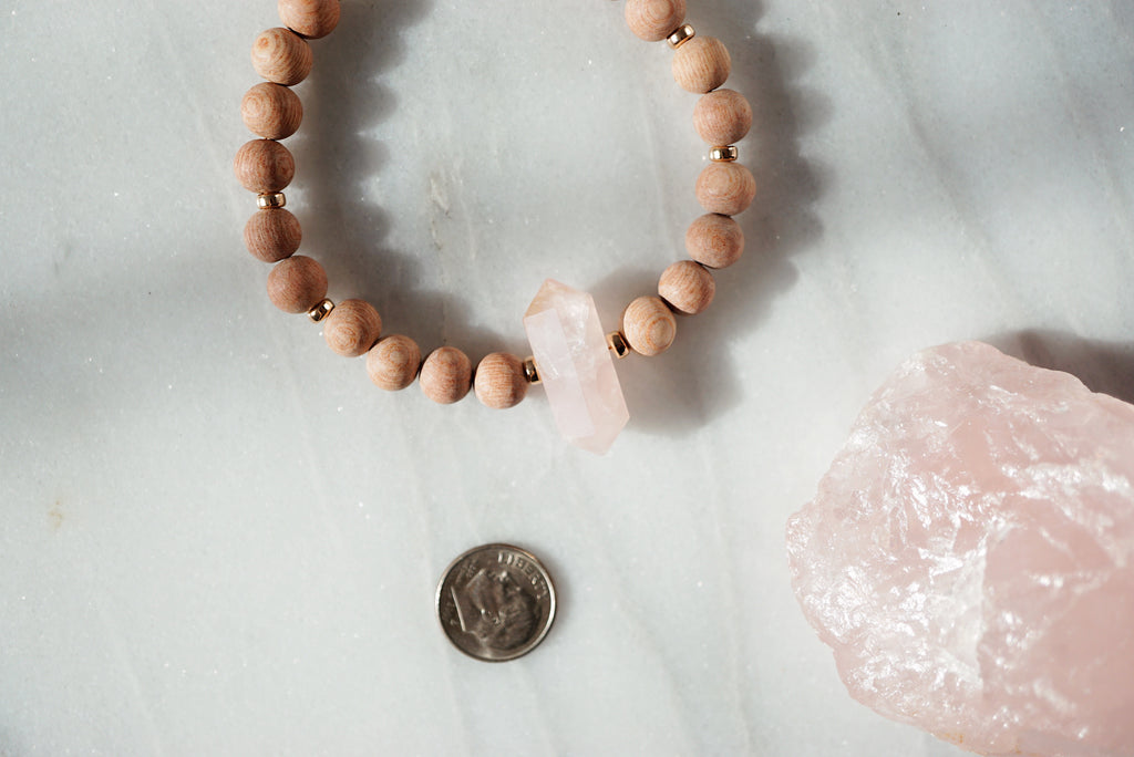 Rose Quartz Crystal + Rosewood Aromatherapy Bracelet ▾ One of a Kind [RG]