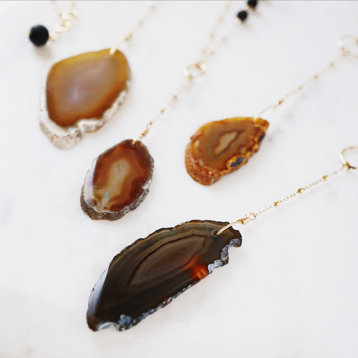 Lava + Agate Essential Oil Diffuser 14K Gold Filled Necklaces FREE Lava Charm - Choose Your Stone