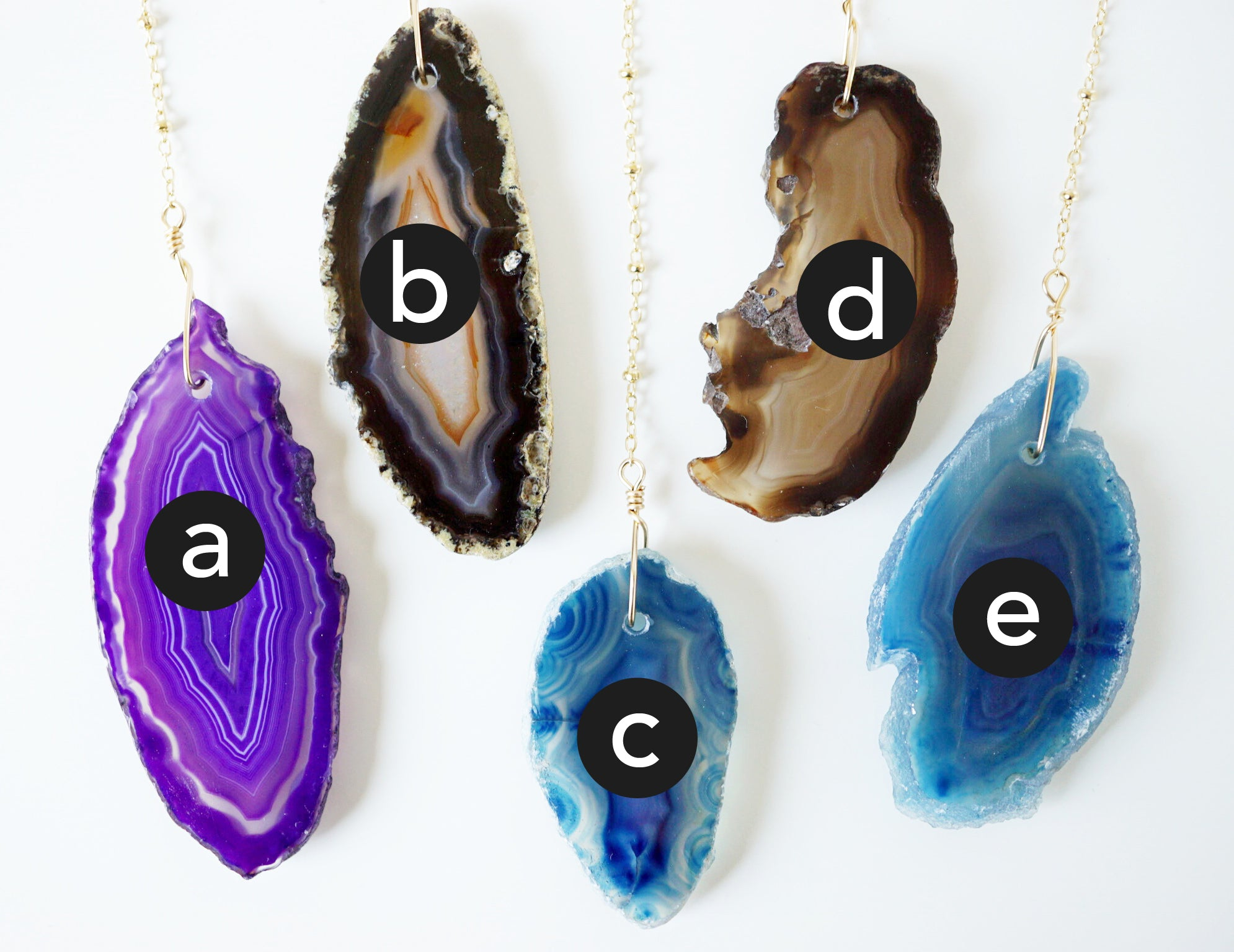 Gold Wire Wrapped Agate + Lava Essential Oil Diffuser Necklaces - Choose Your Stone - Lava Essential Oils