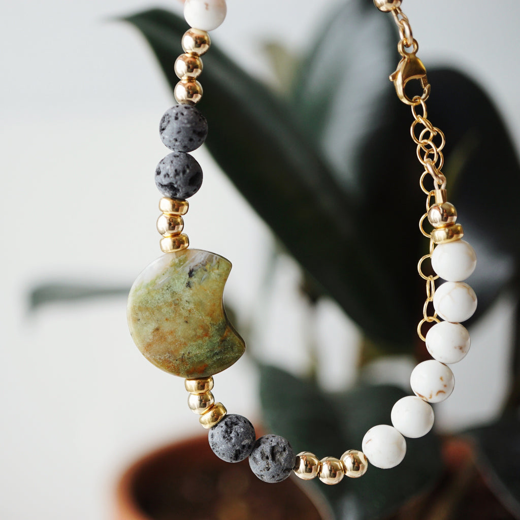 LUX Dainty Lava Bracelet ▾ Green Opal Crescent, Magnesite, Gold - one of a kind - Lava Essential Oils