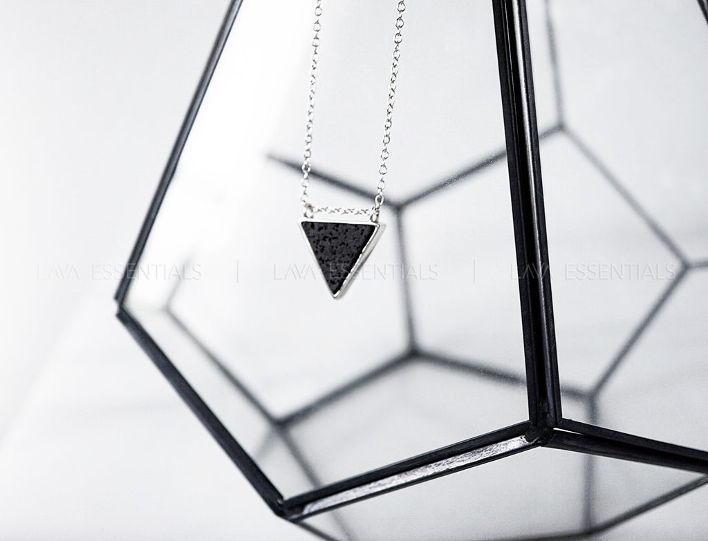 Lava Triangle Bezel Pendant Aromatherapy Necklace - Pure & Sterling Silver - Lava Essential Oils