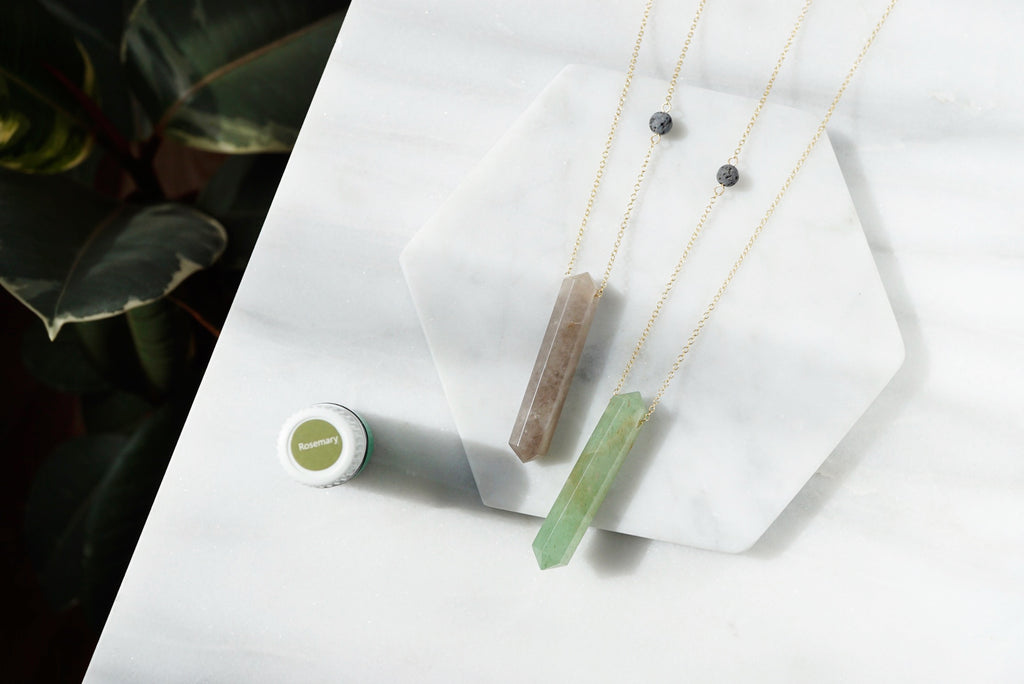 Smoky Quartz Crystal Infinity Aroma Necklace [G]+[S]+[RG] - Lava Essential Oils