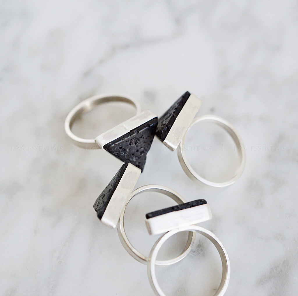 Original Lava Triangle Handcrafted Sterling Aromatherapy Diffuser Ring