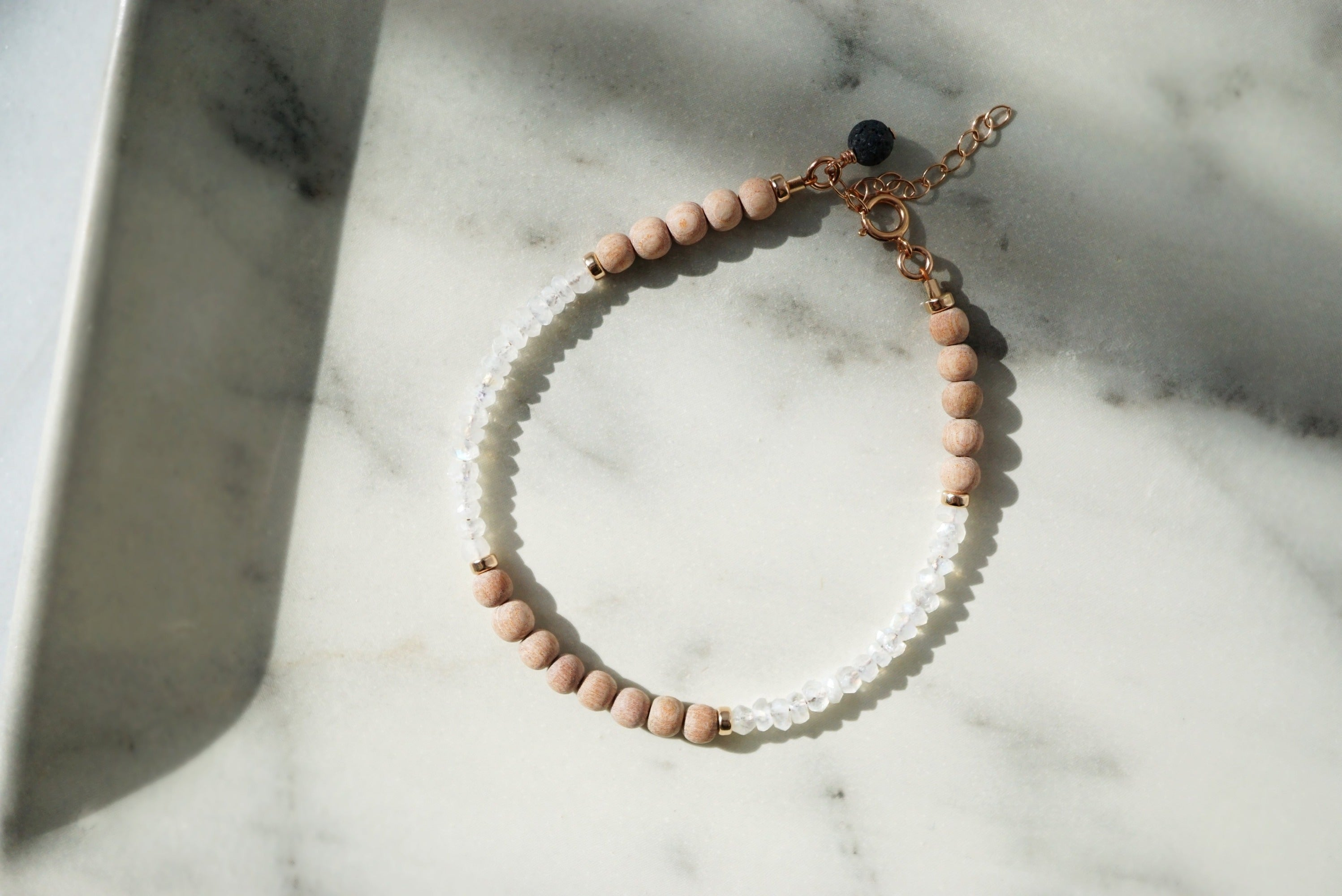 One-of-a-kind Dainty Rose Gold Rosewood and Rainbow Moonstone Aromatherapy Bracelet