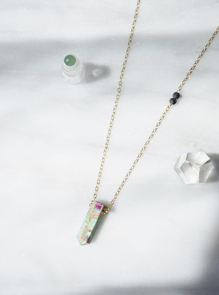 Ruby Zoisite Aromatherapy Necklace - Lava Essential Oils