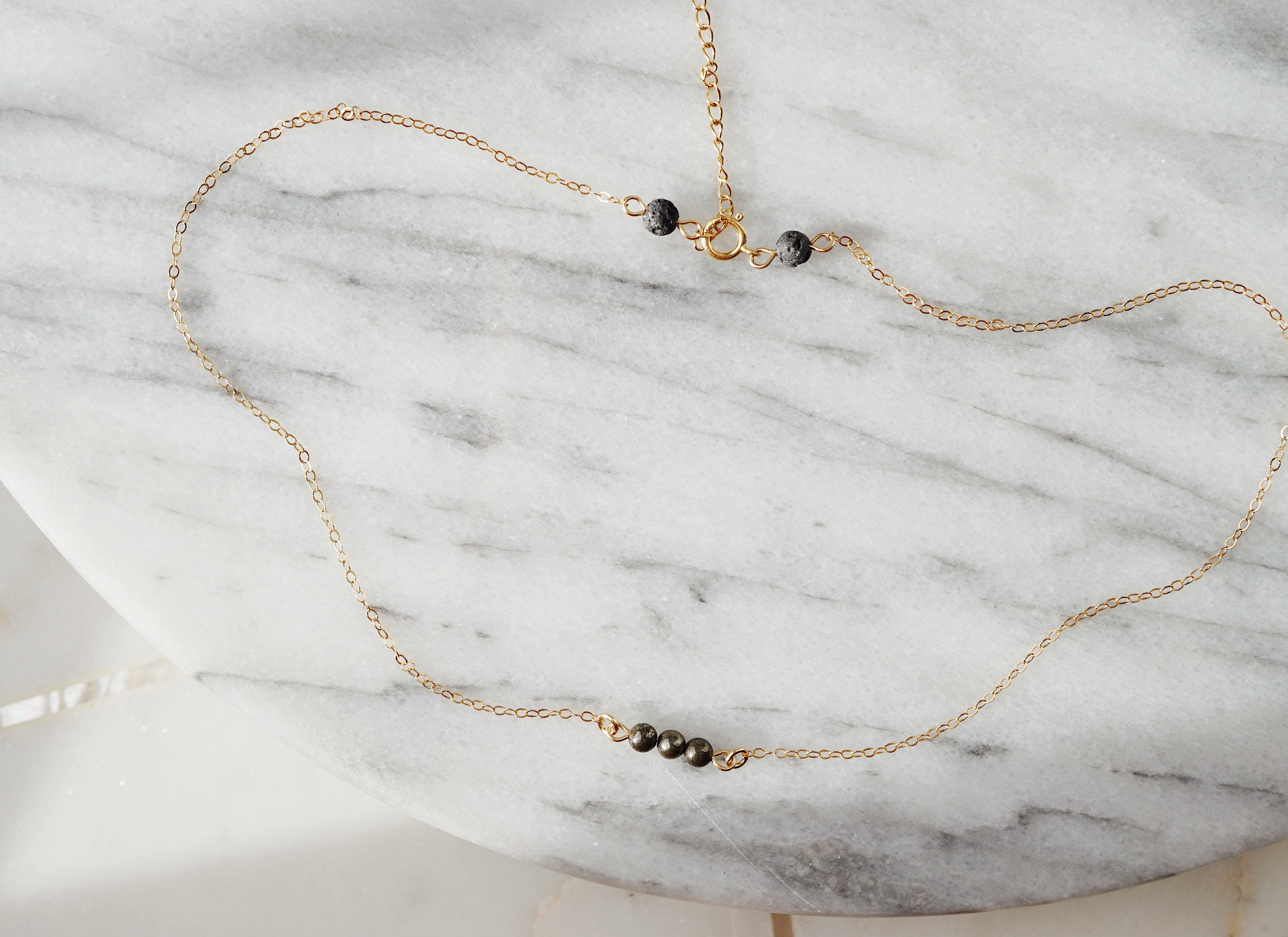 EMF Collection ☼ Petite Pyrite & Lava Necklace [G] - Lava Essential Oils