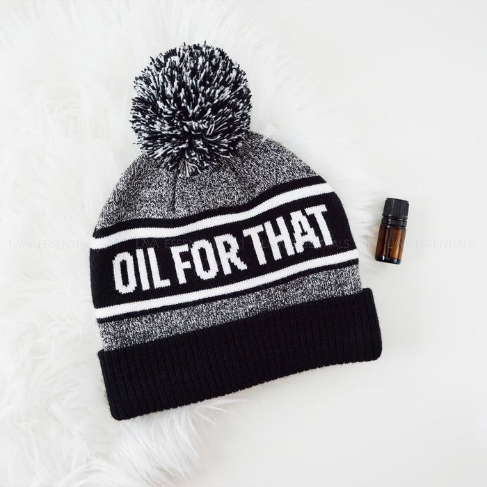 oil for that pom hat, black white winter beanie, essential oil accessory