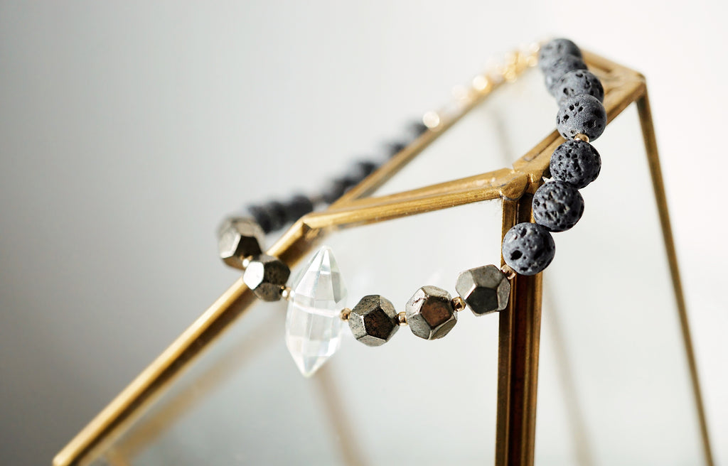 EMF Collection ☼ Crystal + Pyrite + Lava Bracelet [G] - Lava Essential Oils