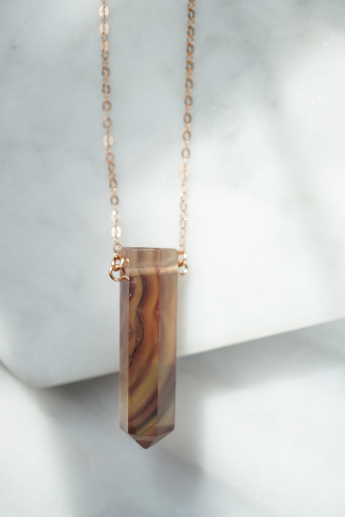 One of a Kind • Rainbow Fluorite Point Rose Gold Aroma Necklace - Lava Essential Oils