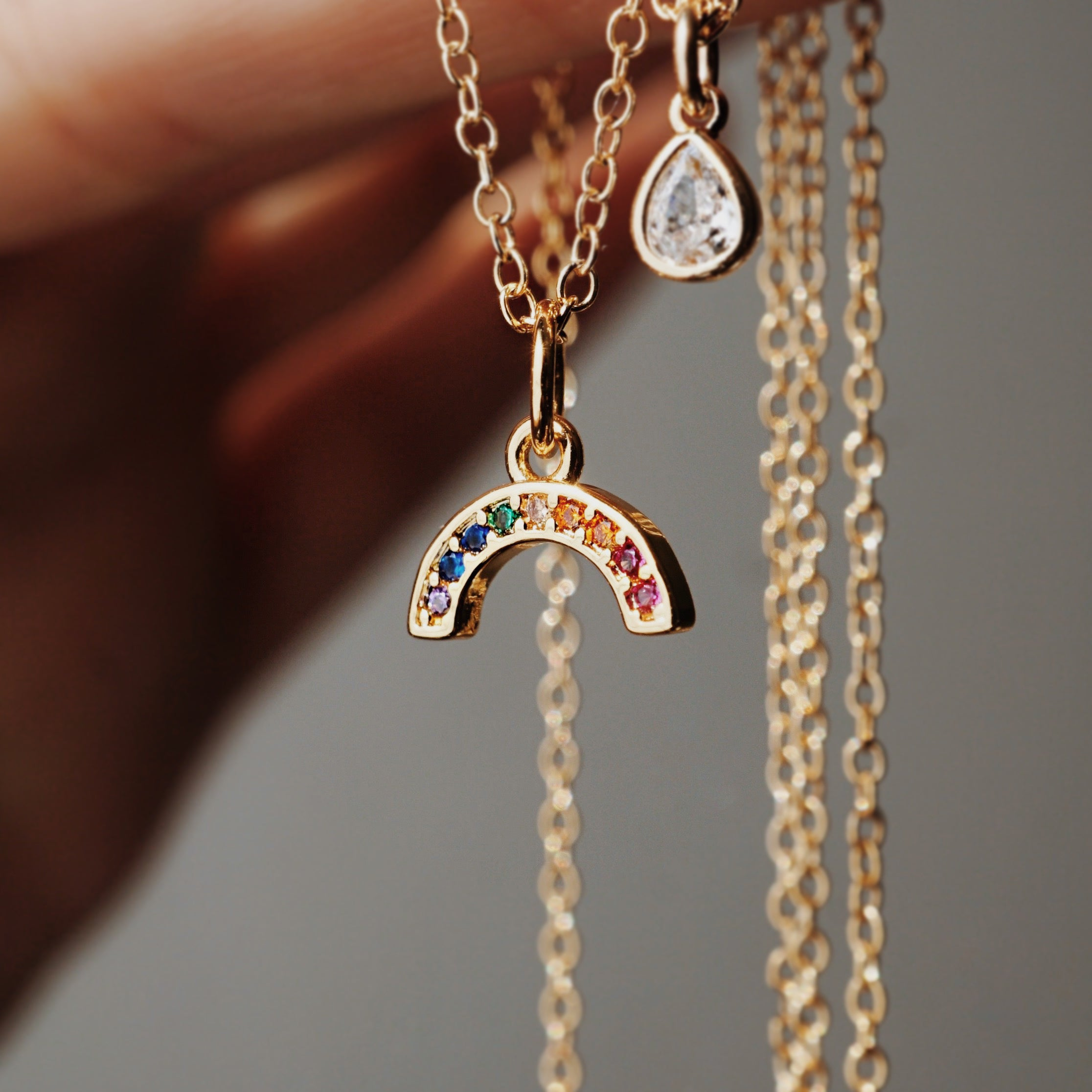 diamond rainbow necklace, rainbow baby, gods promise, aromatherapy