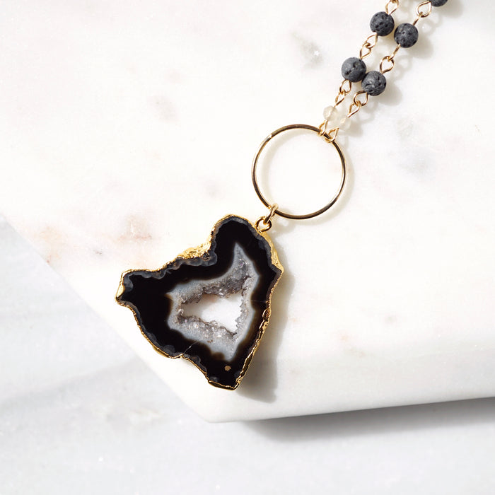 One-of-a-kind Electroplated Black Agate & Lava Aromatherapy Necklace - Lava Essential Oils