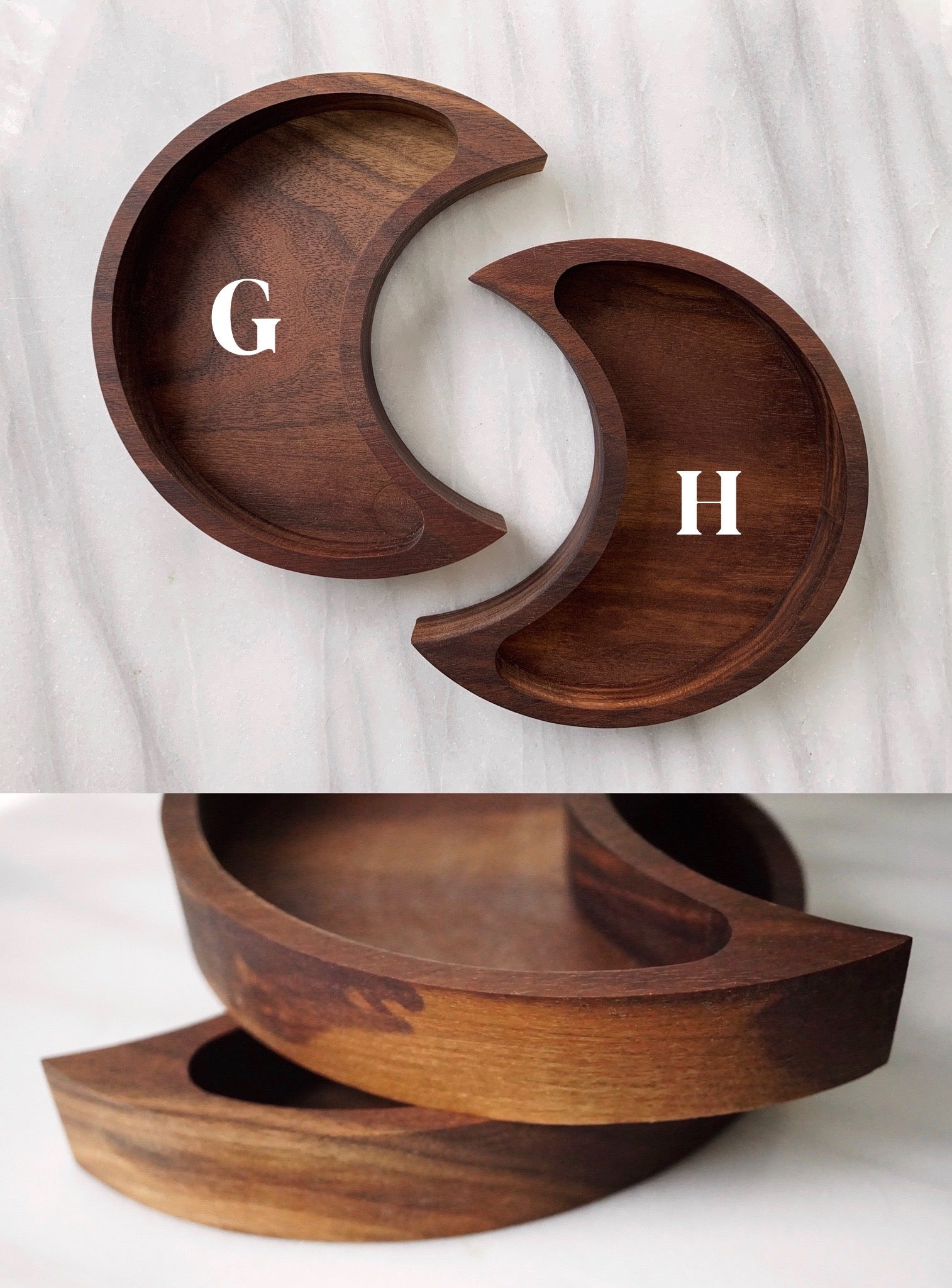 Choose Your Walnut Moon Tray - Both Sizes - Unique wood grains & tones