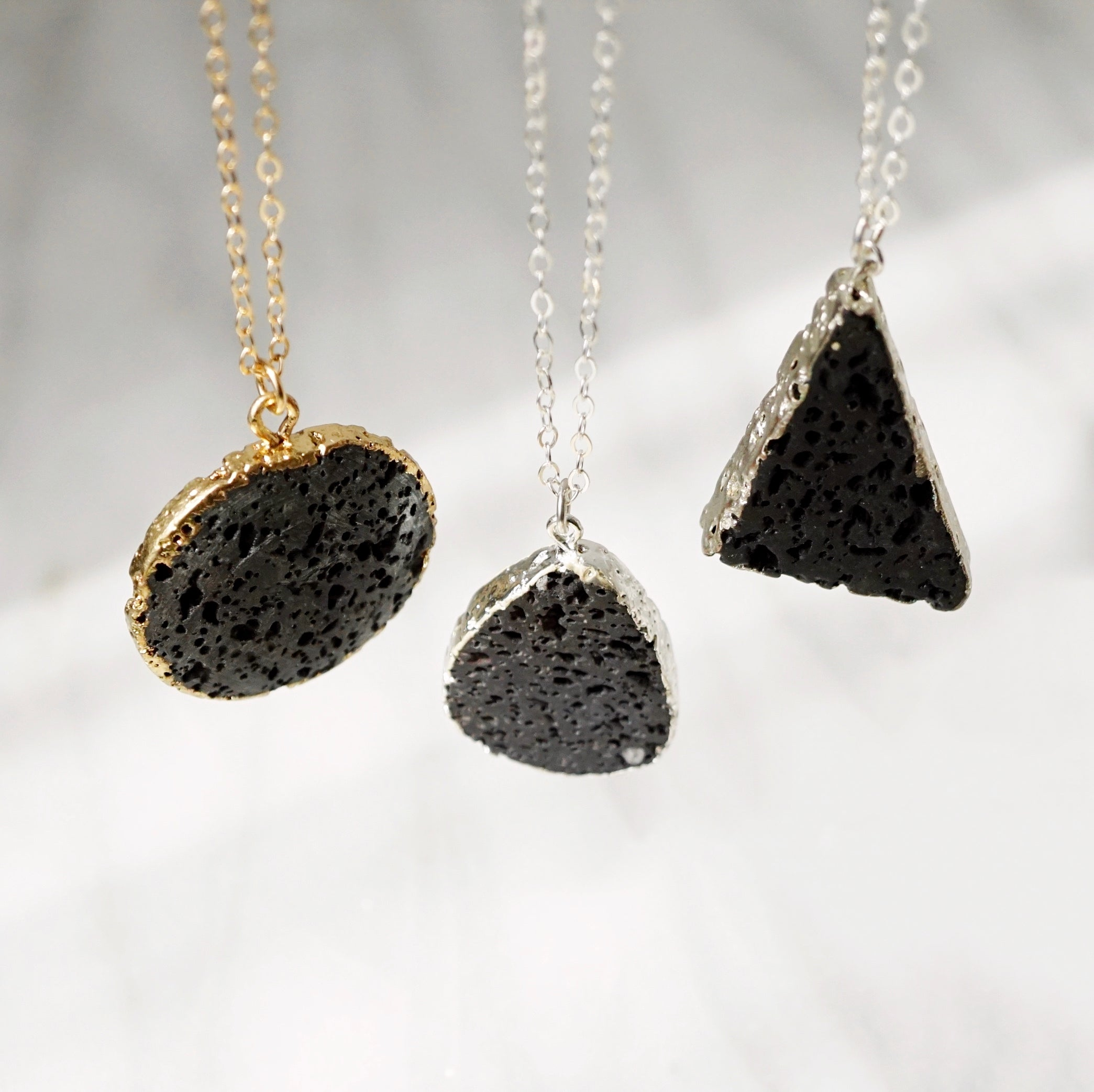 Electroplated Lava Pendant Aromatherapy Necklace, Choose your stone [G]+[S] - Lava Essential Oils
