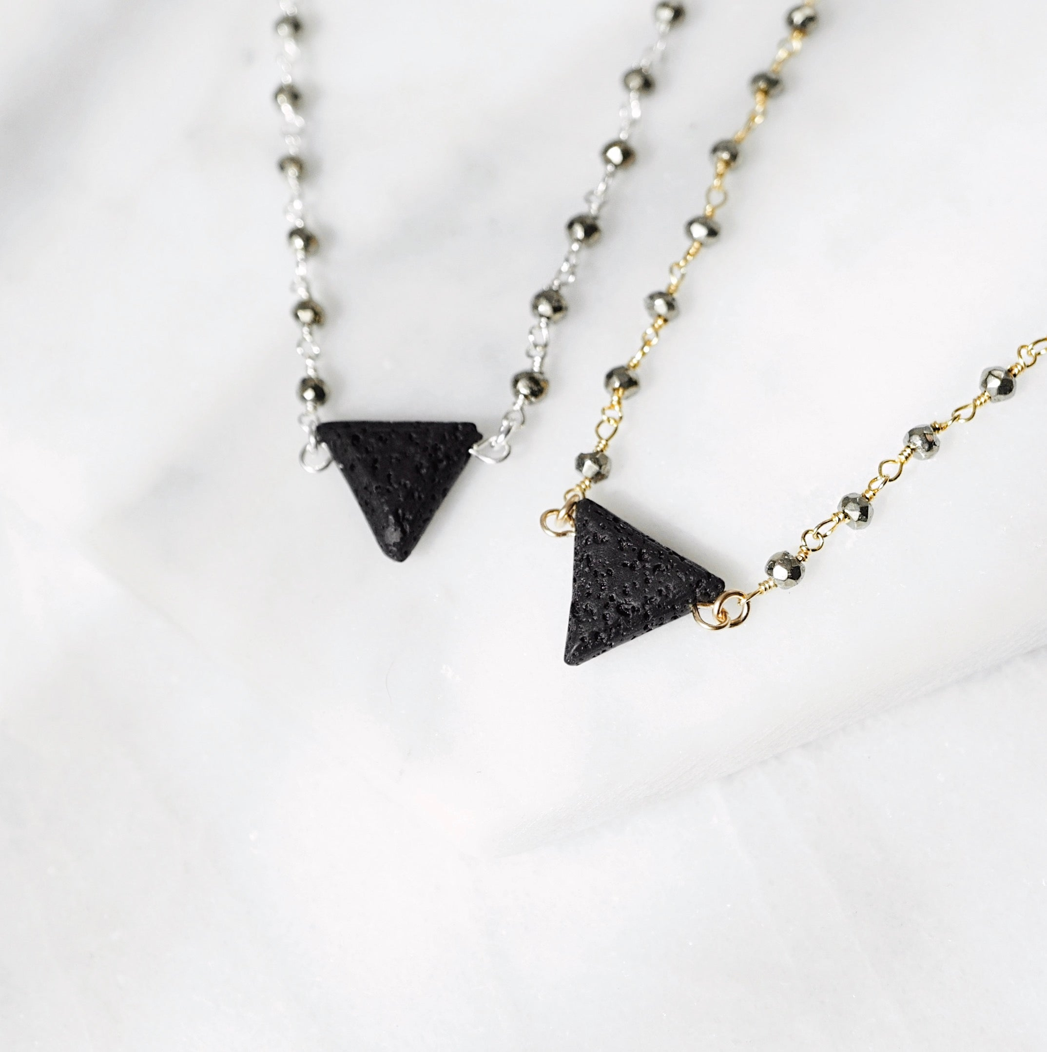 EMF Collection ☼ Lava Triangle & Pyrite Aromatherapy Necklace [G]+[S] - Lava Essential Oils
