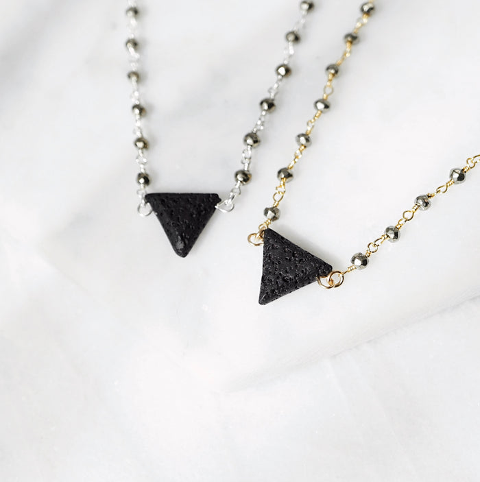 EMF Collection ☼ Lava Triangle & Pyrite Aromatherapy Necklace [G]+[S]