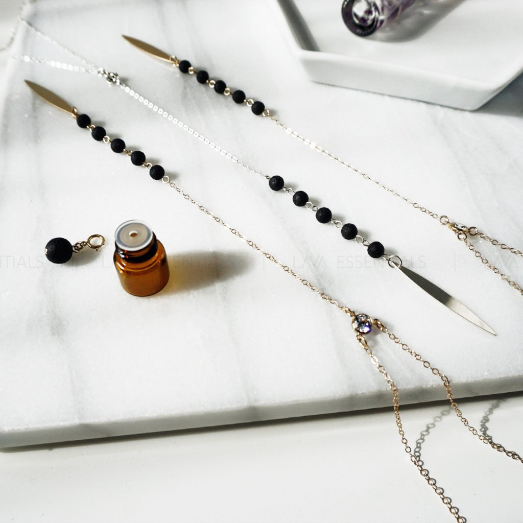 The Petal Minimalist Lava & Diamond CZ Necklace + Lava Charm - Lava Essential Oils