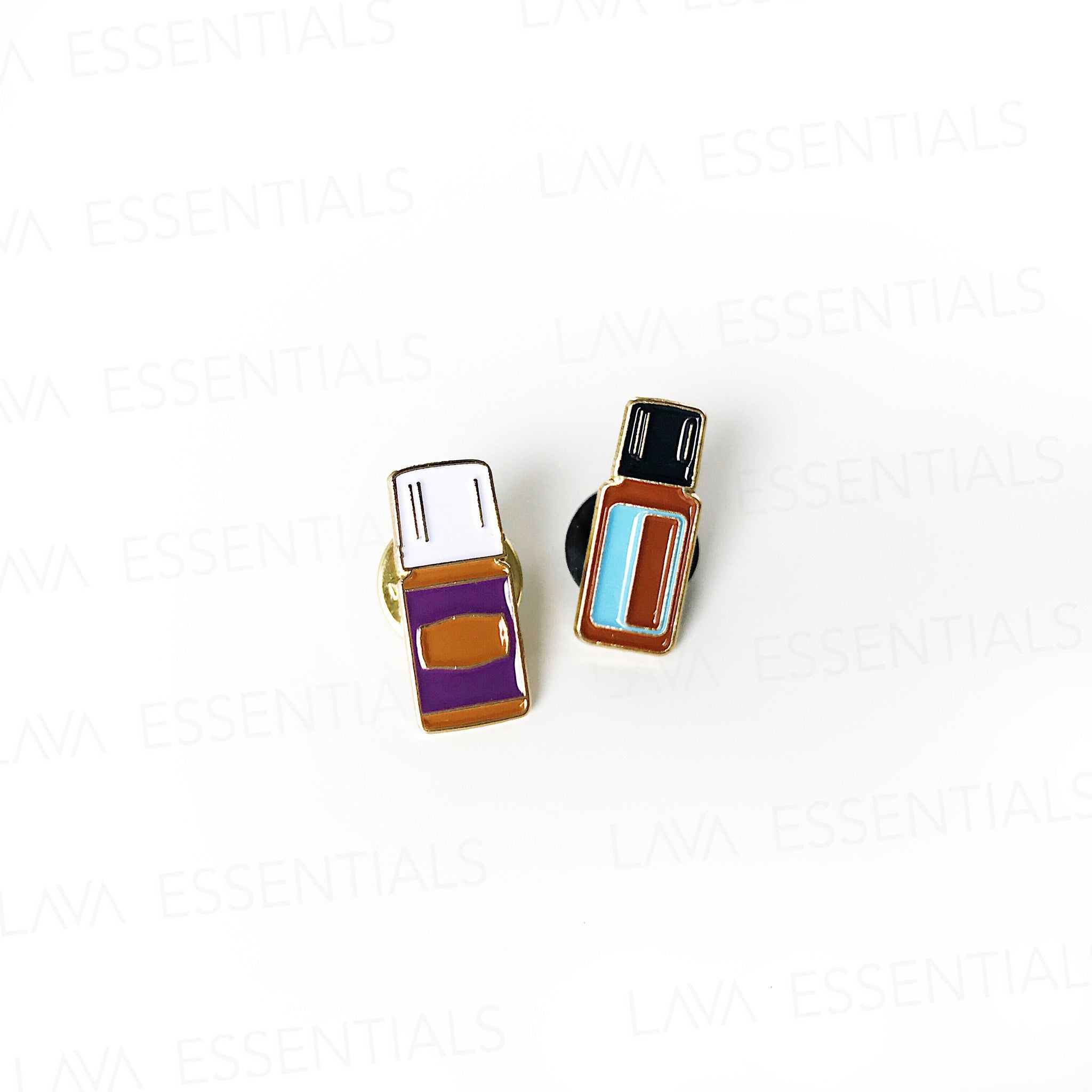 Seconds Sale - Blue Essential Oil Bottle Enamel Lapel Pin - Lava Essential Oils