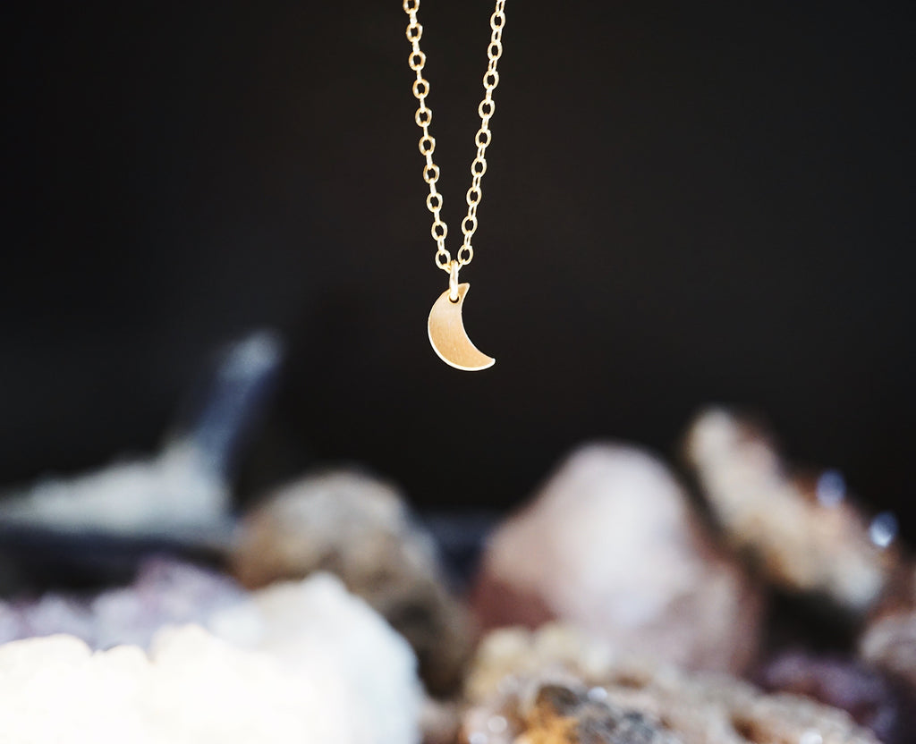 Dainty Crescent Moon Stacking Necklace [G]+[S] - Lava Essential Oils