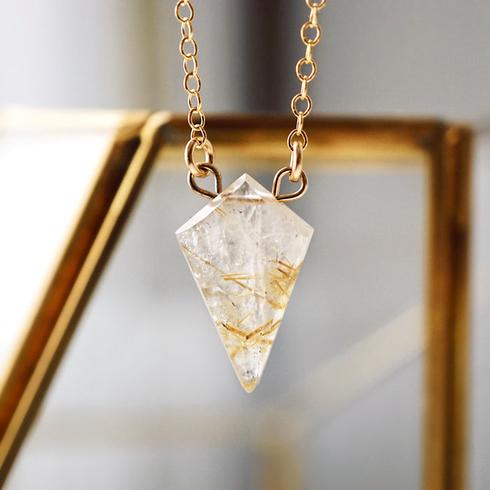 Petite Rutilated Quartz Diamond Necklace, Natural Lava Extender [G]+[S]