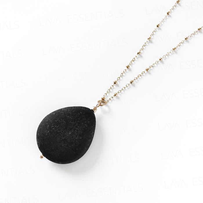Lava Teardrop - Minimalist Essential Oil Necklace Diffuser Aromatherapy - MULTIPLE CHAIN OPTIONS - Lava Essential Oils