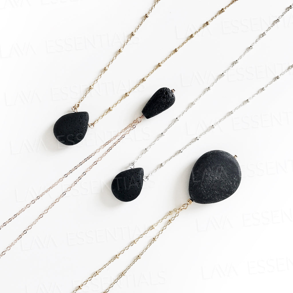 Dainty Lava Drop Essential Oil Diffuser Necklace - MULTIPLE CHAIN OPTIONS - Lava Essential Oils