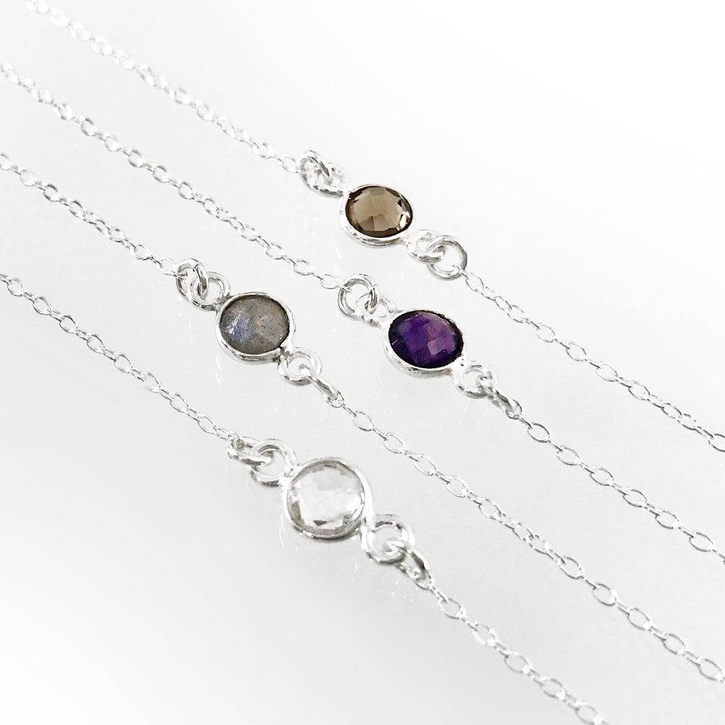 Dainty Gemstone Minimalist Sterling Silver Stacking Necklace - Smoky Quartz, Labradorite, Quartz, Amethyst Pendant - Lava Essential Oils