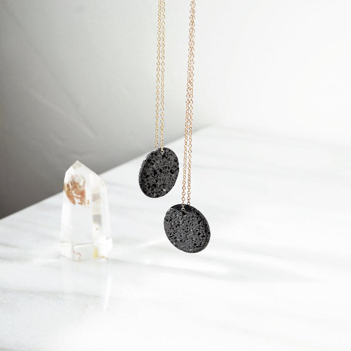 Eclipse • Natural Lava Coin Minimal Necklace - Lava Essential Oils