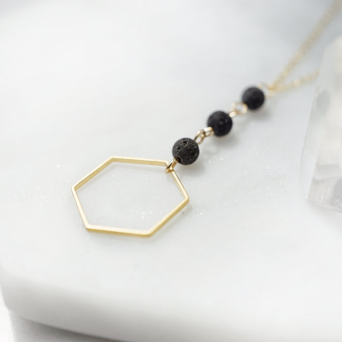 Dainty Honeycomb Aromatherapy Necklace [G] - Lava Essential Oils
