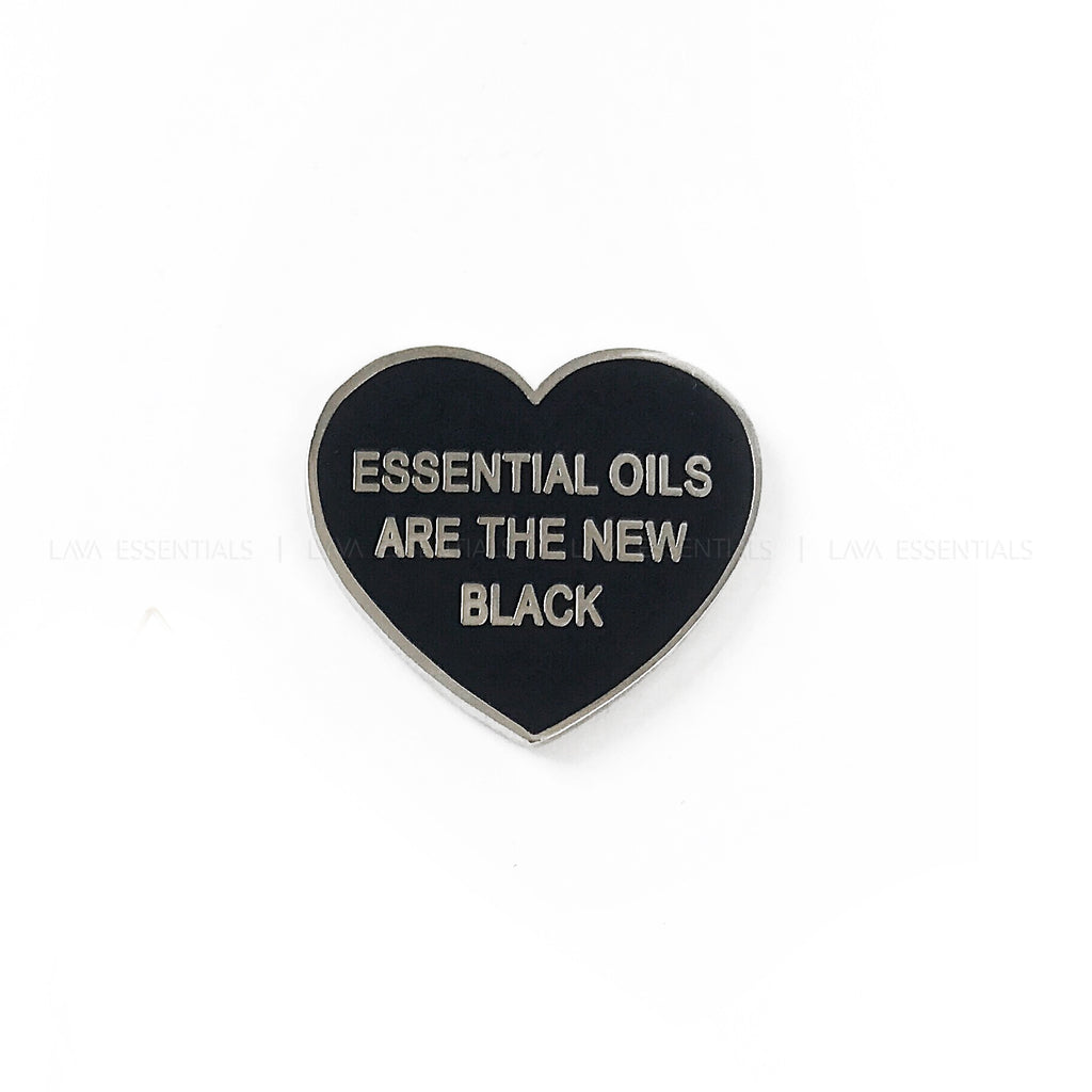 """Essential Oils Are The New Black"" Heart Enamel Lapel Pin - Lava Essential Oils"